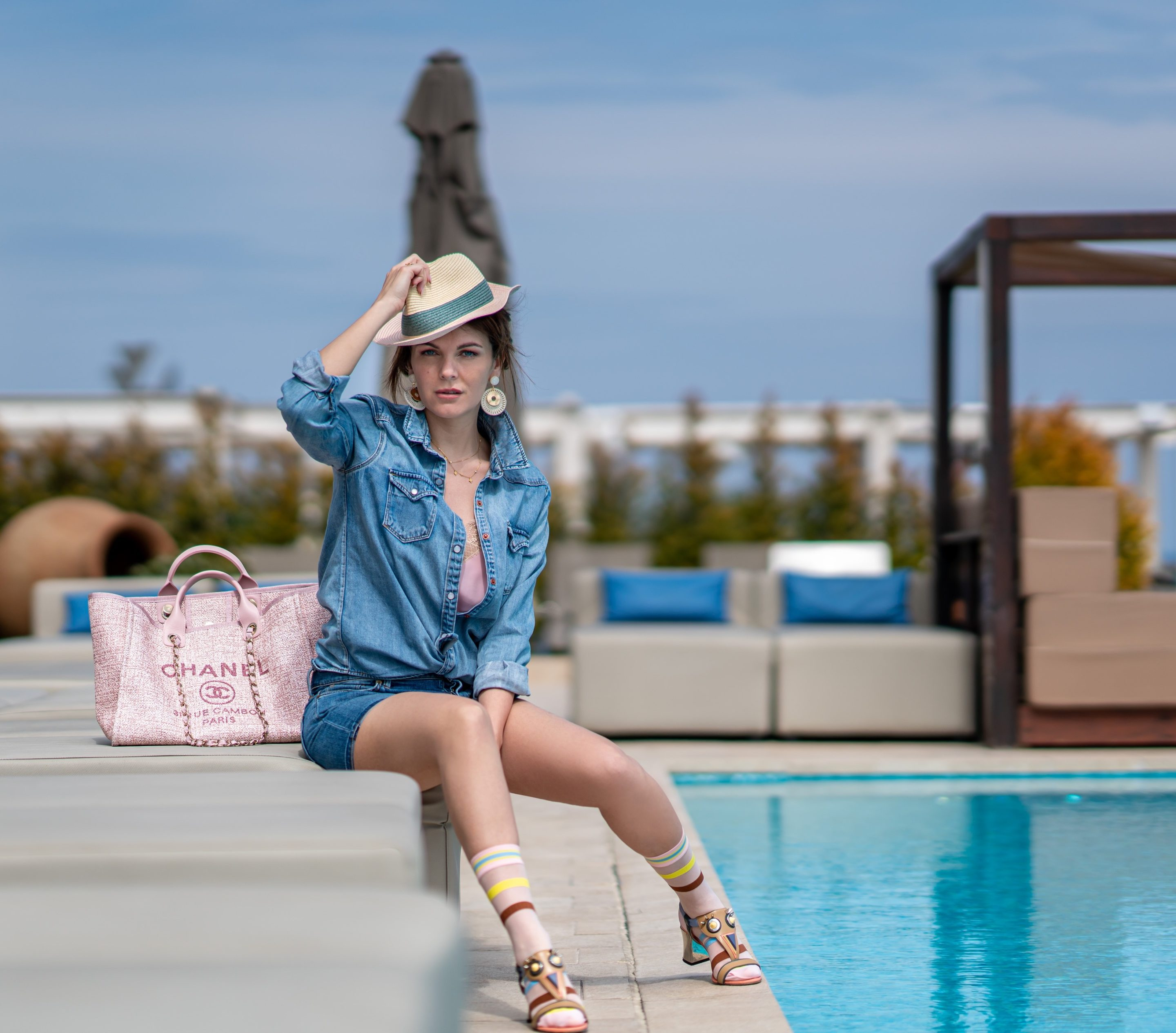Denim outfit fendi sandals and chanel bag by the pool