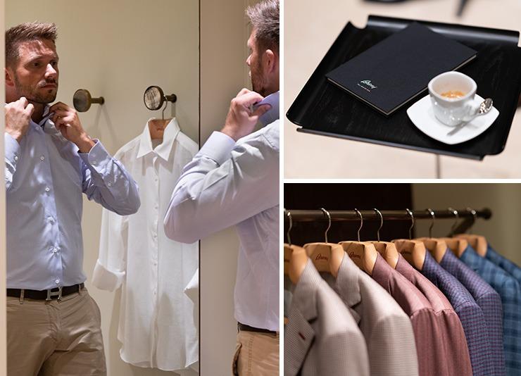 Brioni shop Barcelona Per trying a shirt