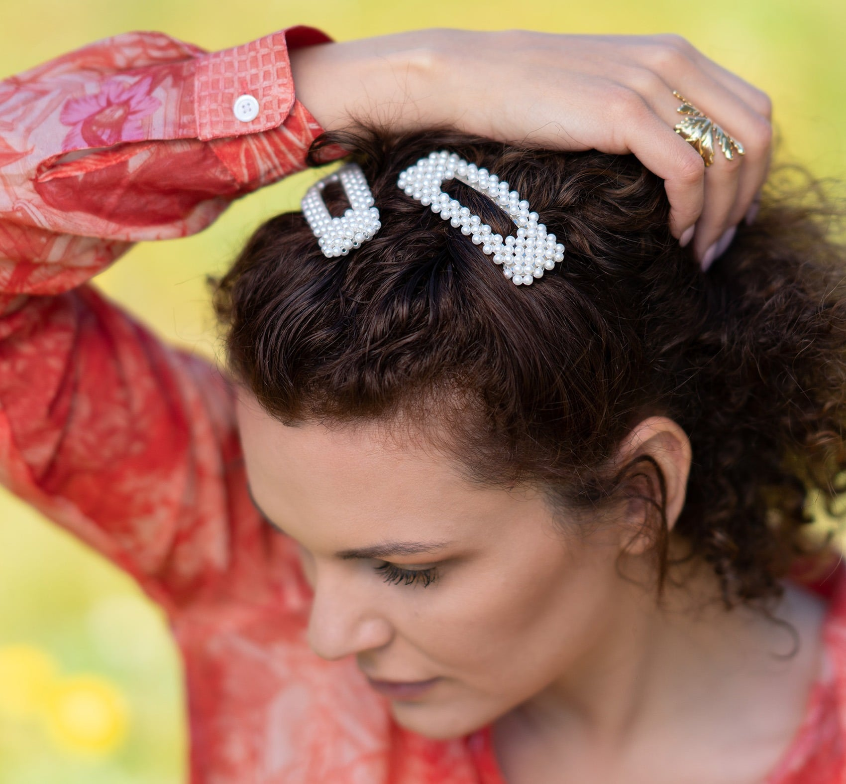 Hair clips with pearls