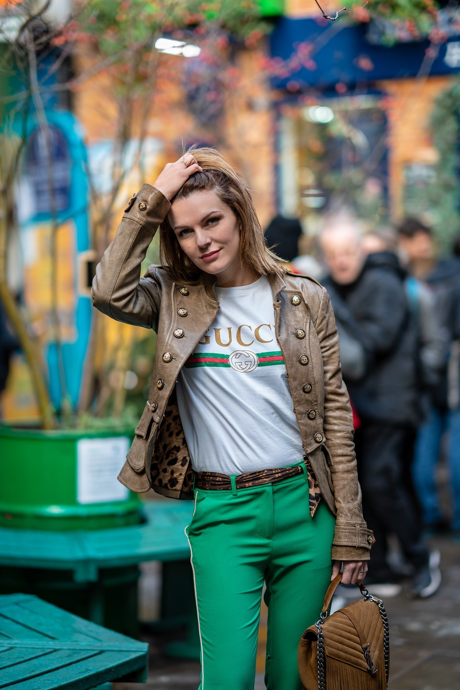 Leather jacket green pants and Gucci t shirt