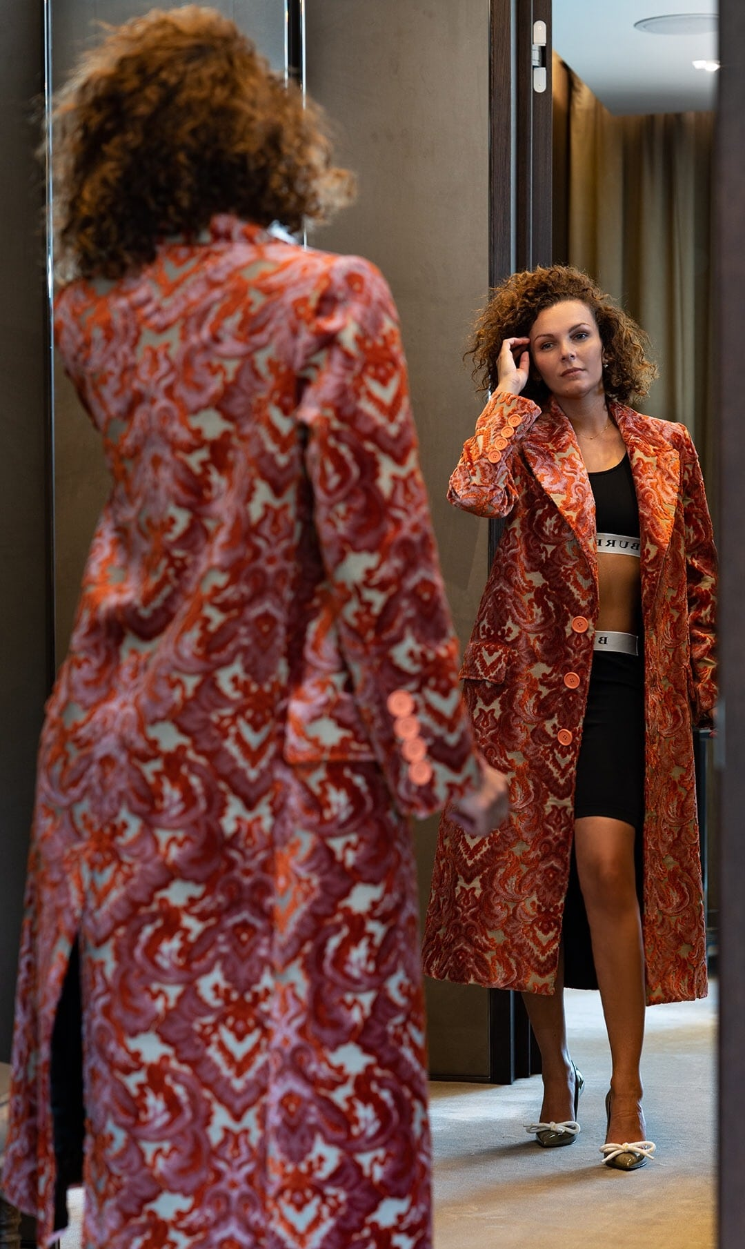 Damask coat in Burberry's VIP fitting room