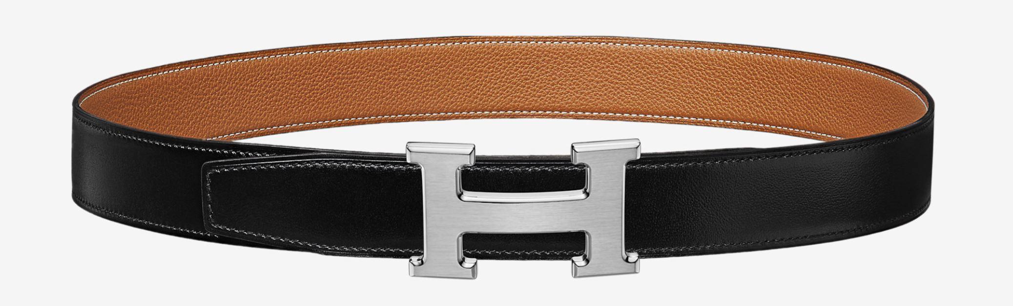 Hermes black and brown belt