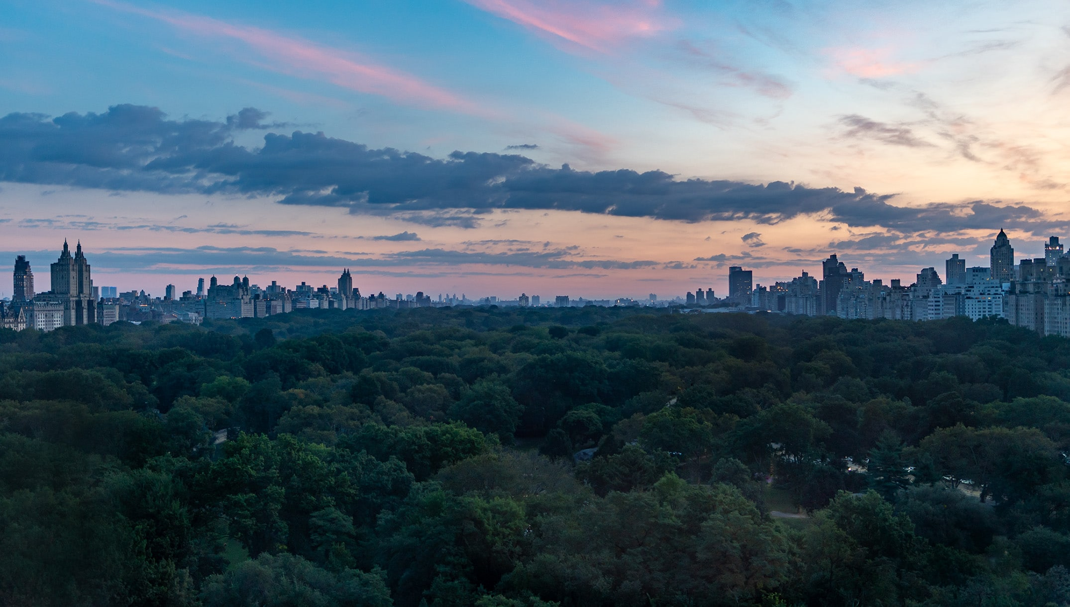 Central Park view from Ritz-Carlton New York during blue hour