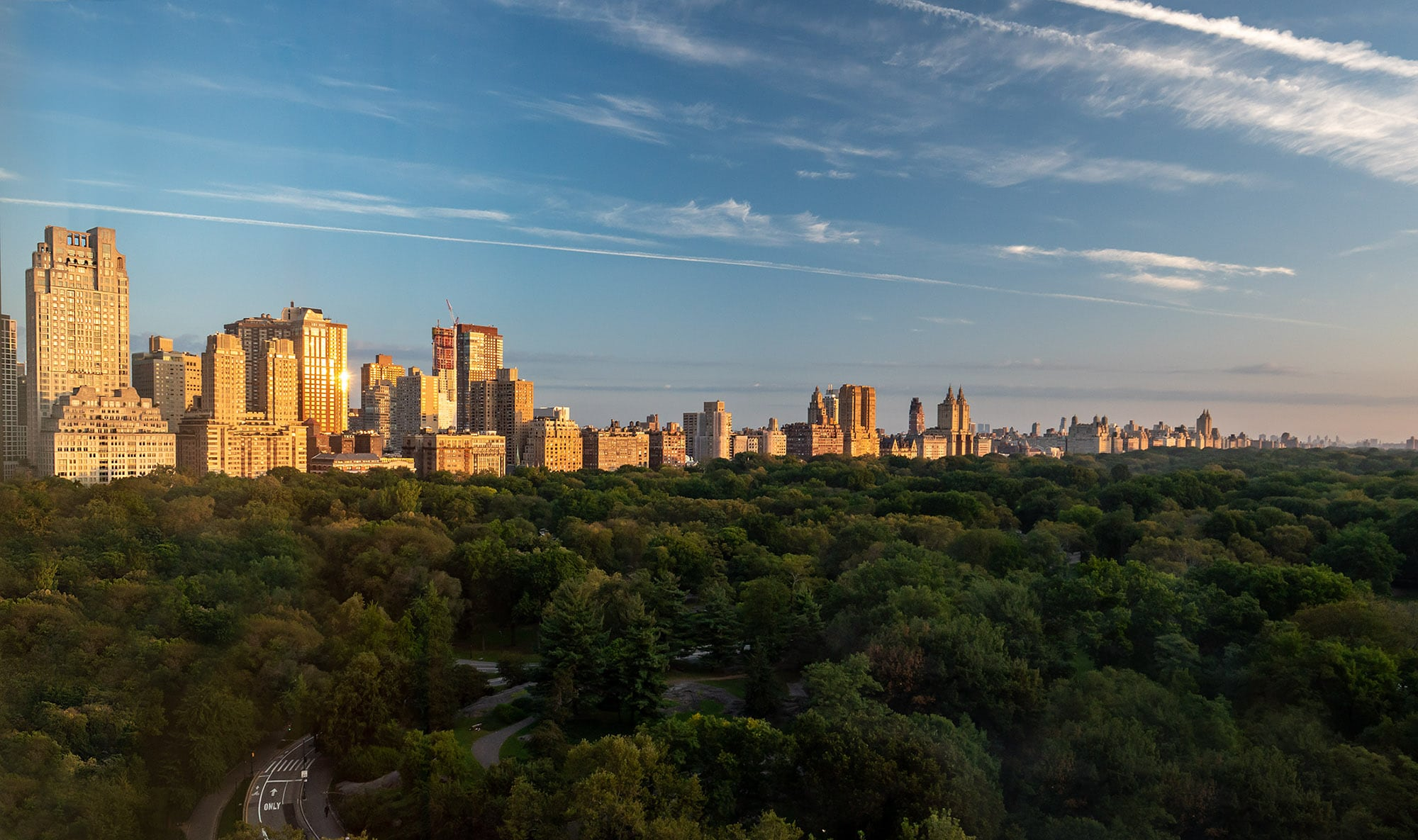 Central Park view from Ritz Carlton New York during golden hour
