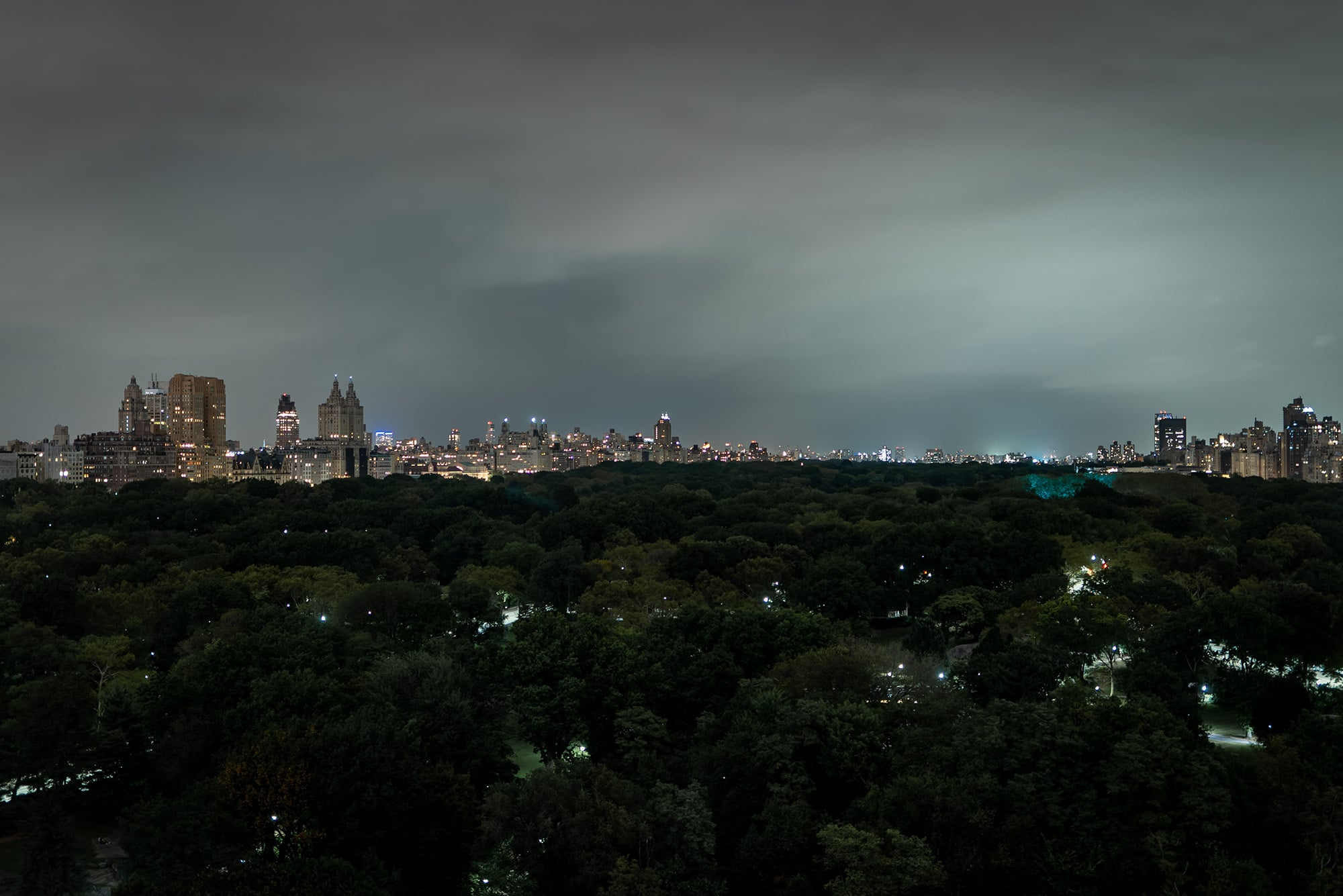 Central Park view from Ritz-Carlton New York during night
