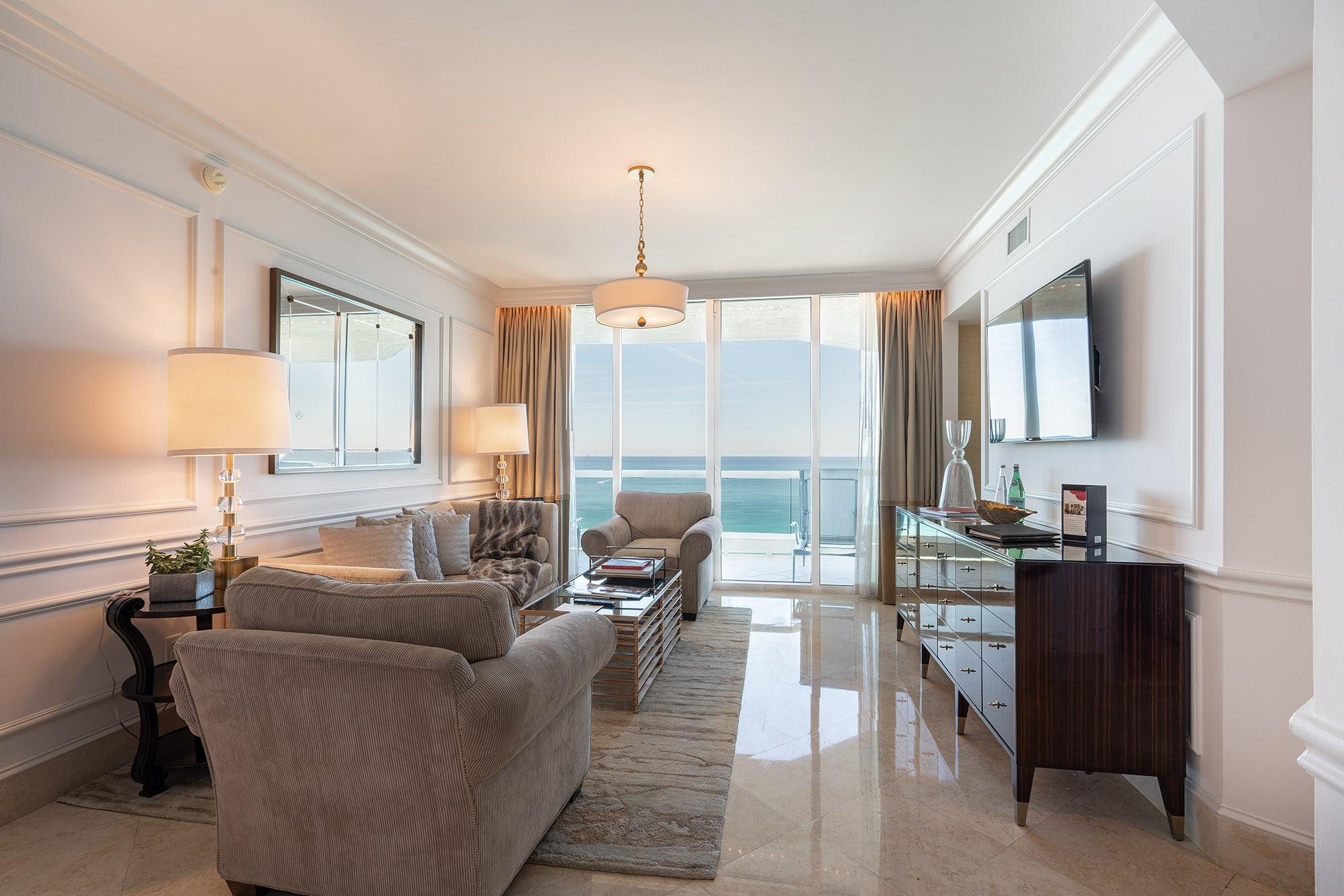 Acqualina Oceanfront suite living room