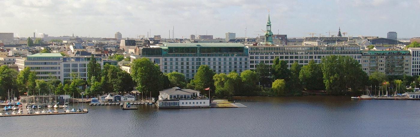 Le Méridien Hamburg hotel drone shot