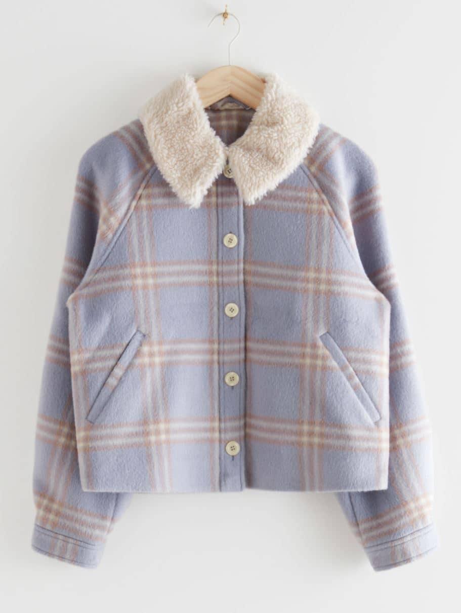 Plaid shearling jacket