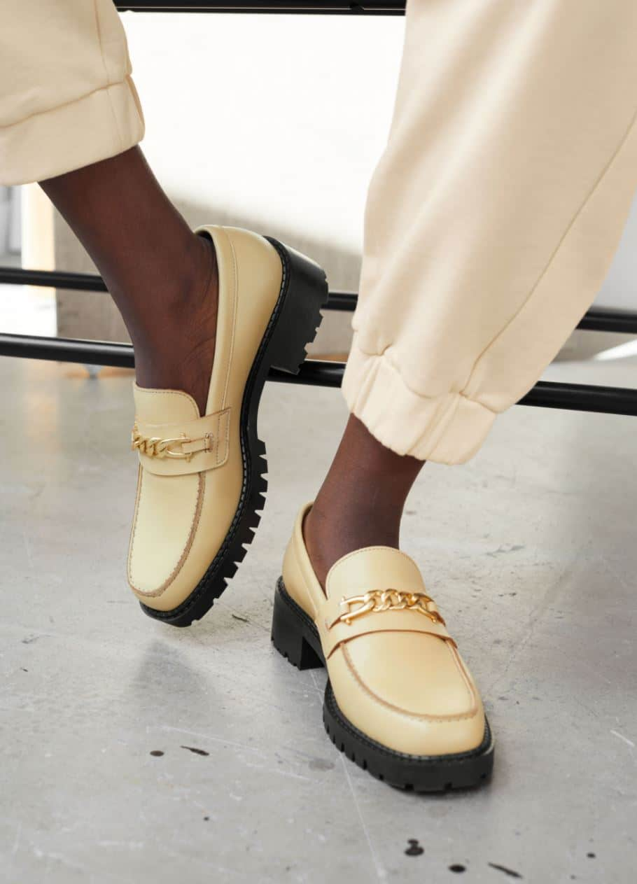 Beige chunky loafers