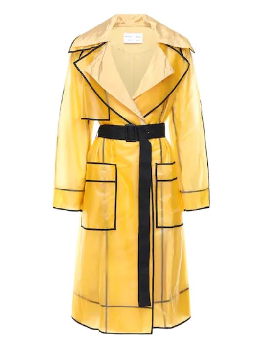 Yellow and black trench coat