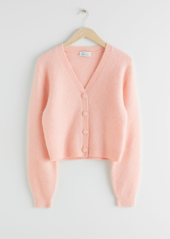 Pink cropped cardigan