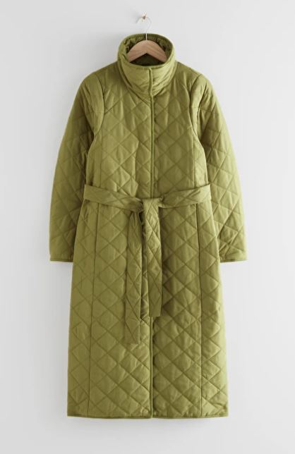 Green quilted coat