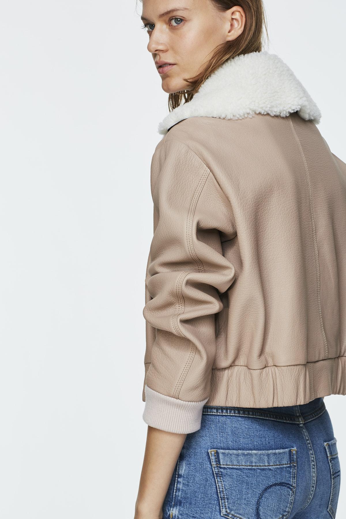 Girl in shearling jacket