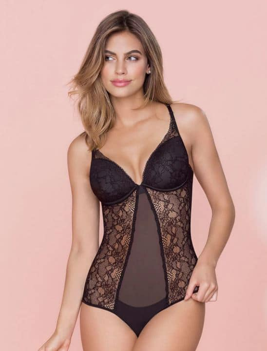 sexy girl in black lace bodysuit