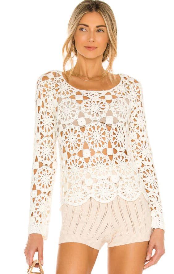 Blonde girl in crochet jumper