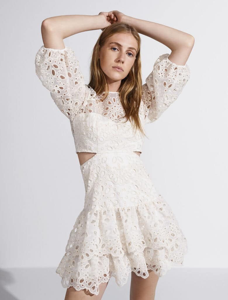 Girl in a white lace dress