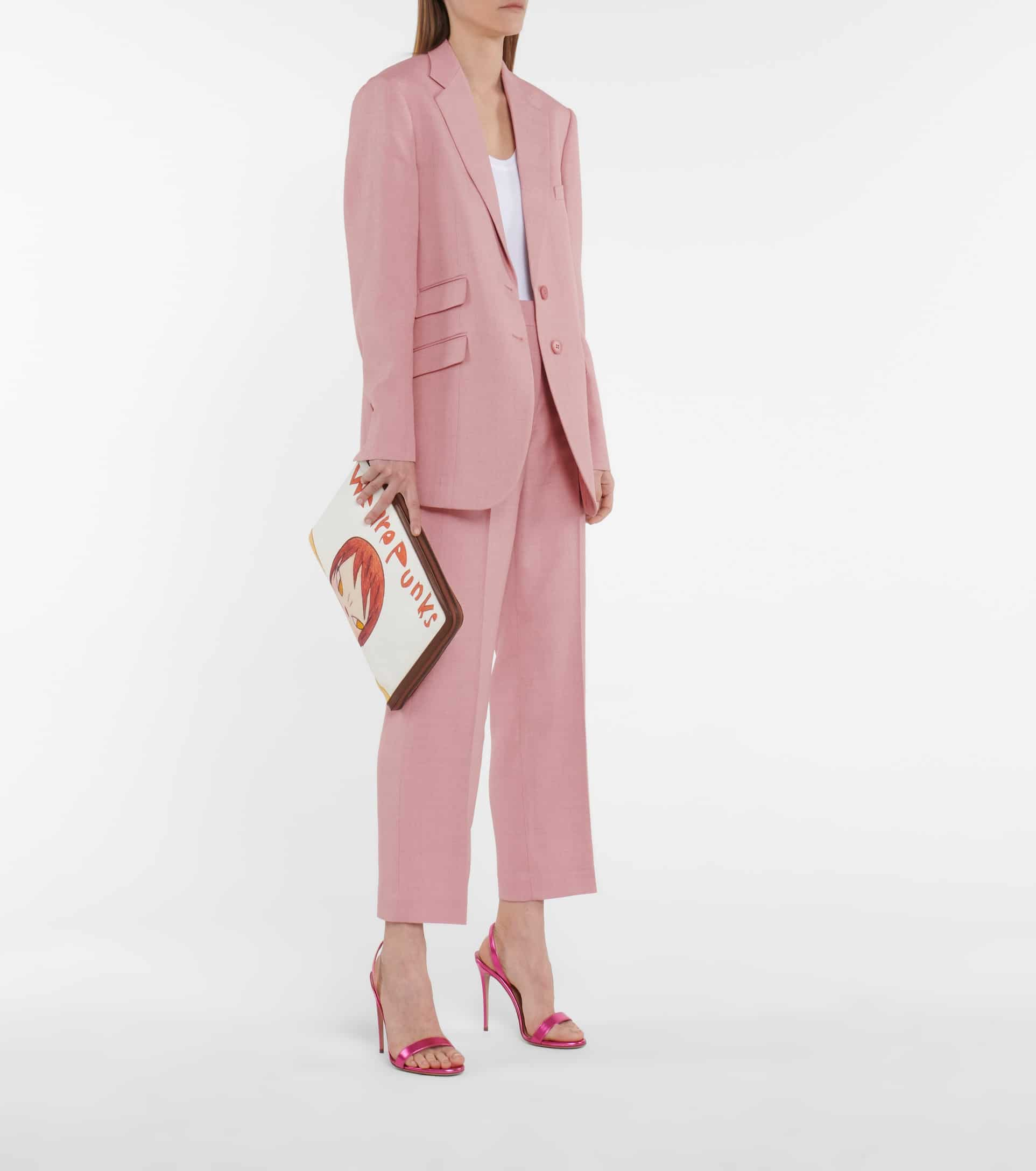 Girl in light pink suit