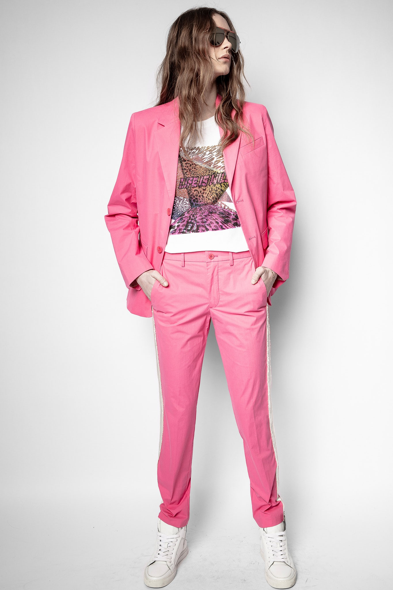 Girl in pink suit