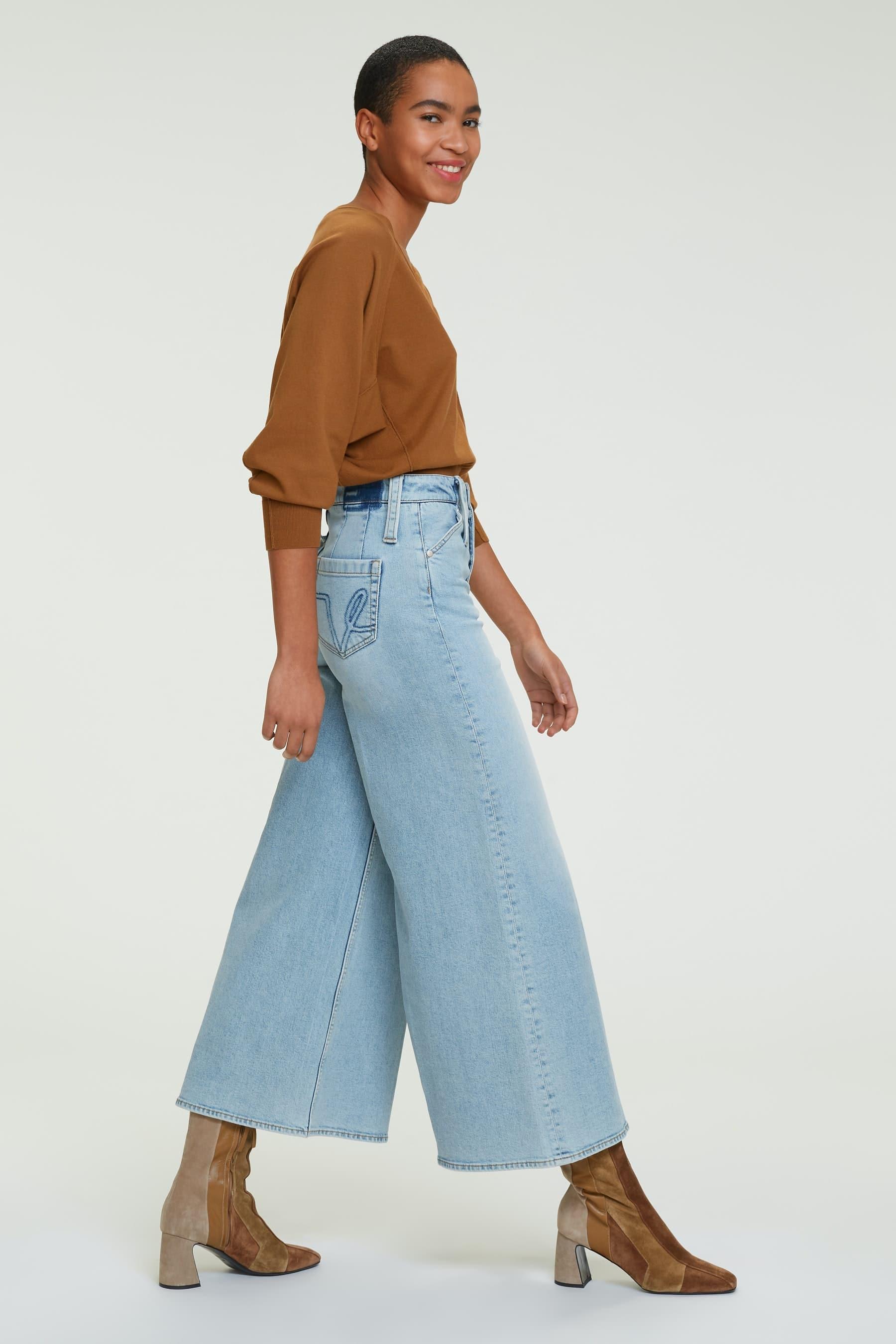 Girl in wide leg jeans