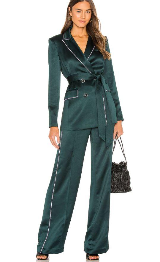 Girl in dark green suit