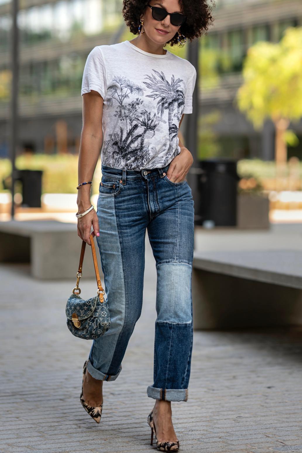 Girl in denim walking in the street