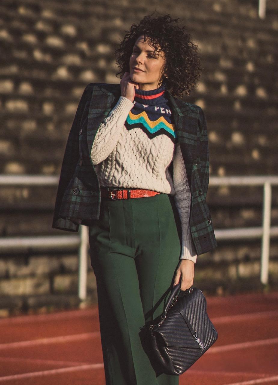 Girl in vintage look and ysl bag