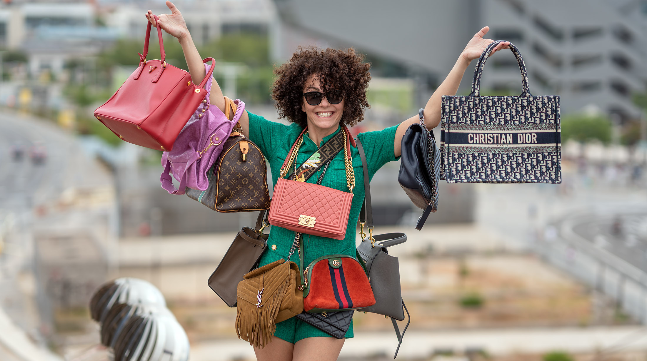 Girl with a lot of handbags