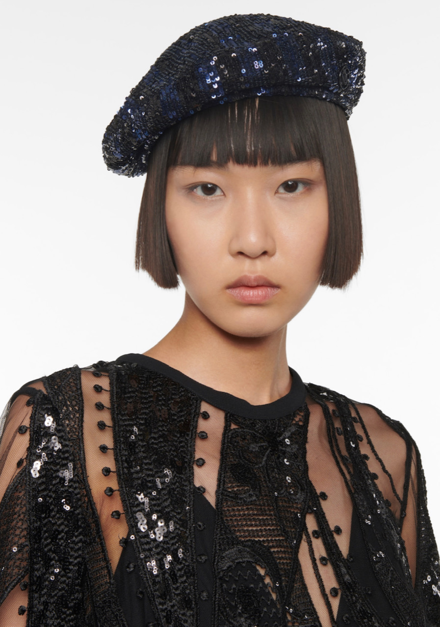 Asian girl with sequin beret